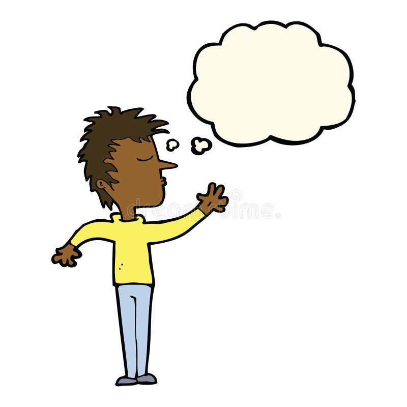 kreskówka lekceważący mężczyzna z myśl bąblem ilustracja wektor