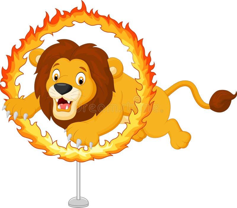 Kreskówka lew skacze przez pierścionku ogień royalty ilustracja