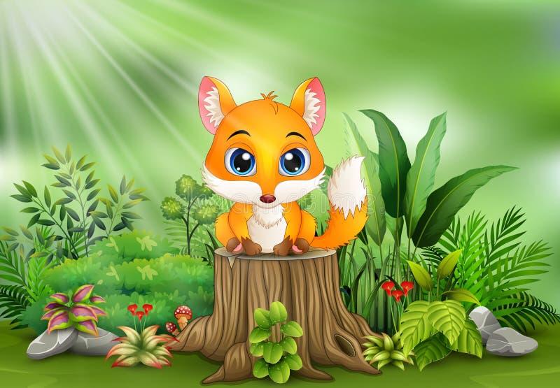 Kreskówka lisa obsiadanie na drzewnym fiszorku z zielonymi roślinami royalty ilustracja