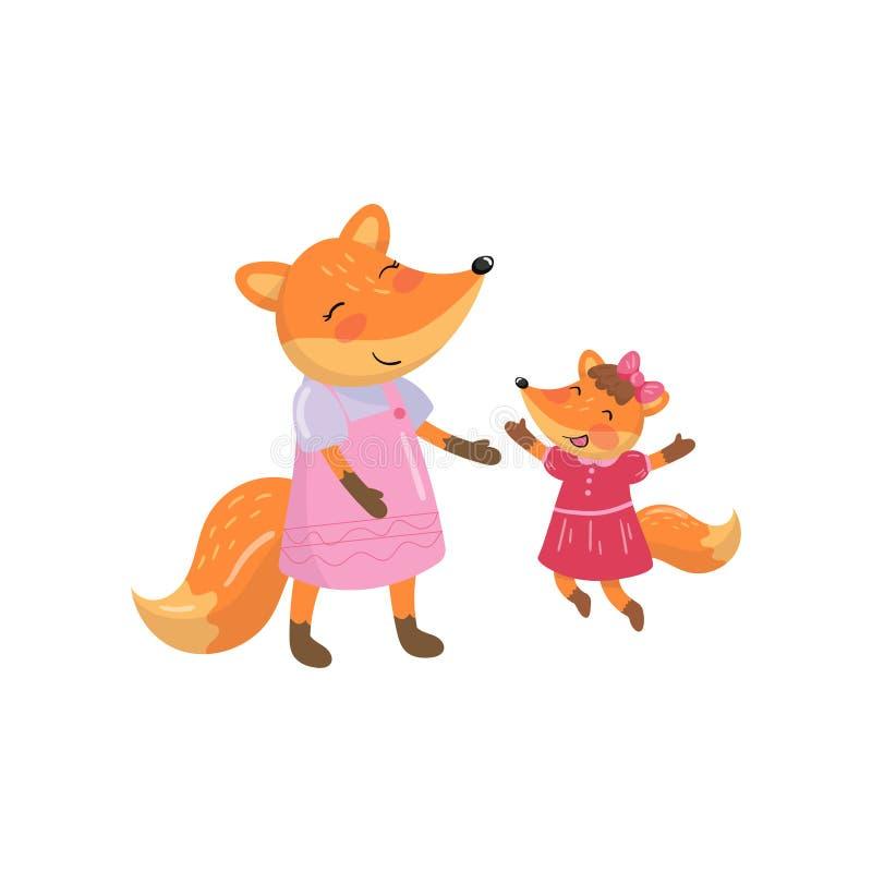 Kreskówka lisa rodzinna mama i jej mały dziecko Lasowi zwierzęcy charaktery Projektuje element dla Macierzystego s dnia kartka z  royalty ilustracja