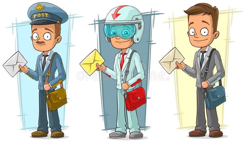 Kreskówka listonosz z listu i torby charakteru wektoru setem ilustracji