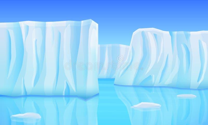 kreskówka lodowowie w oceanie ilustracji