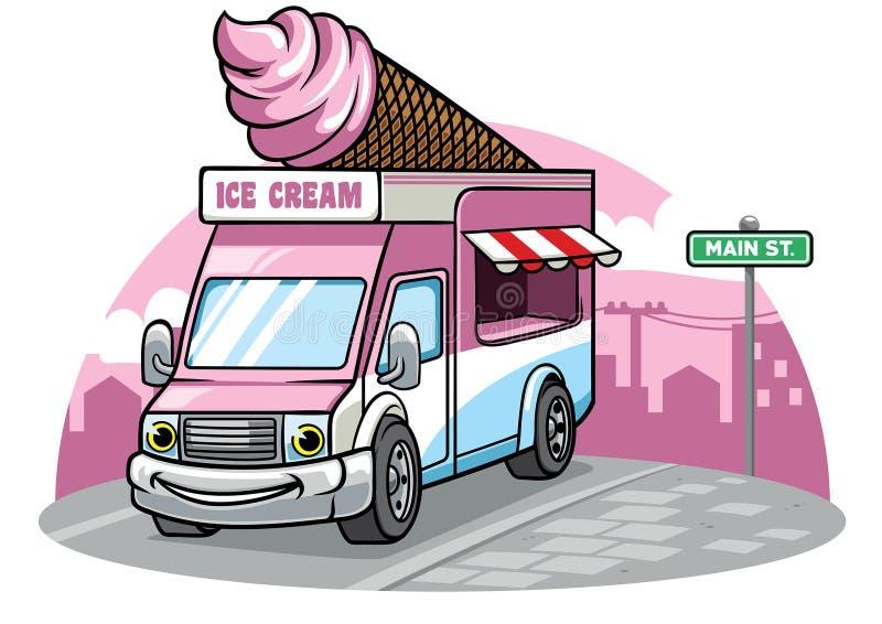 Kreskówka lody Samochód dostawczy Ilustracja royalty ilustracja