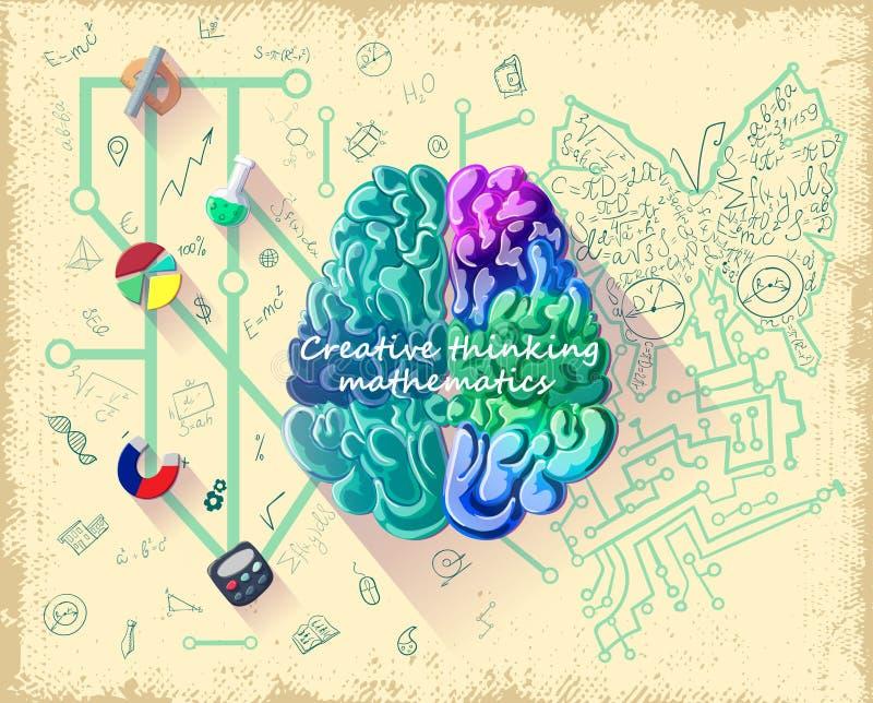 Kreskówka ludzkiego mózg inteligenci pojęcie ilustracja wektor