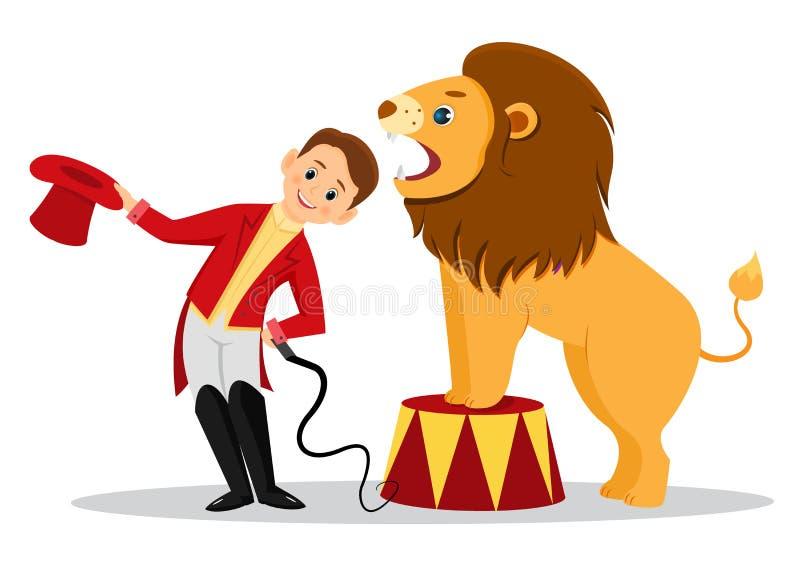 Kreskówka lwa poskromicielka stawia jego głowę w szczękach lew ilustracja wektor