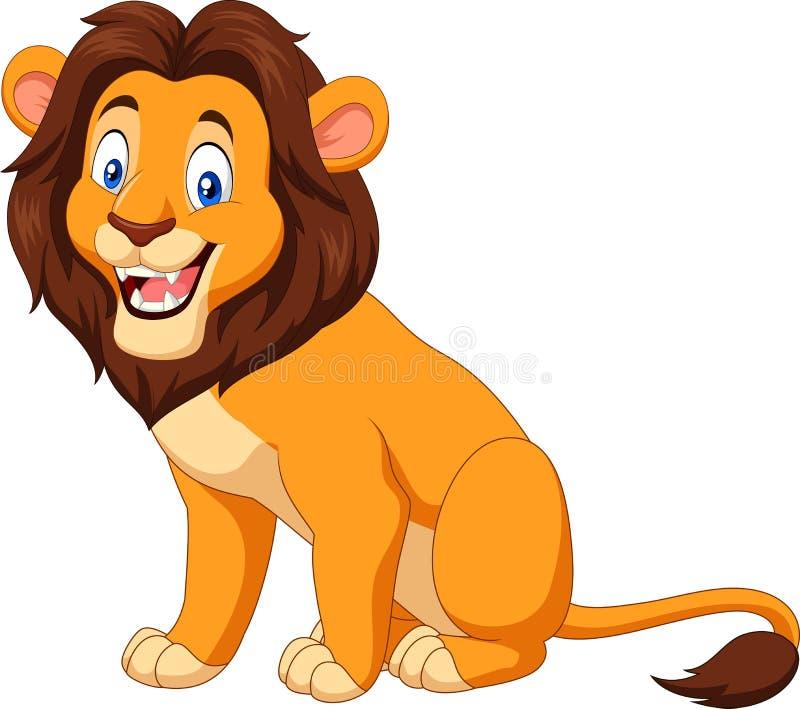Kreskówka lwa szczęśliwy obsiadanie ilustracja wektor
