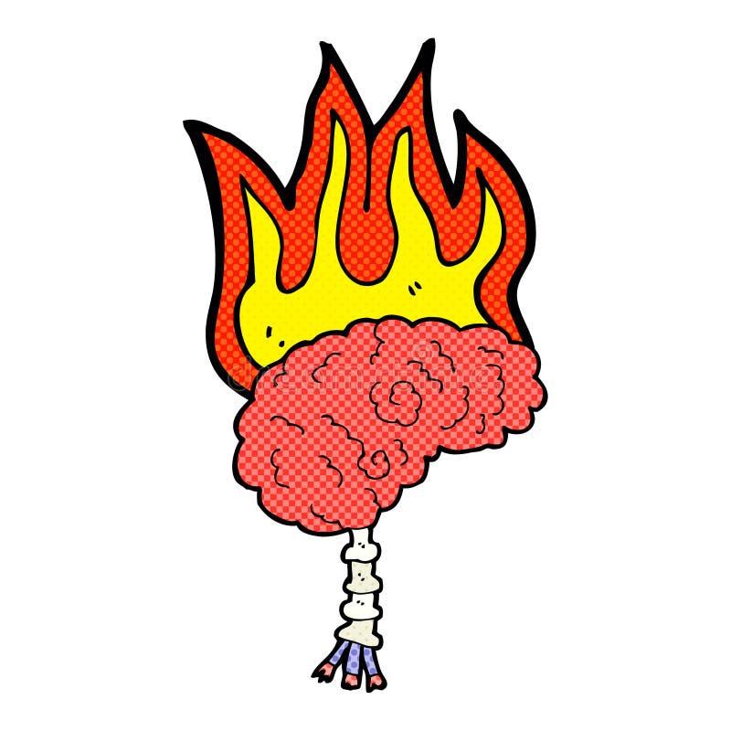 kreskówka mózg na ogieniu ilustracja wektor