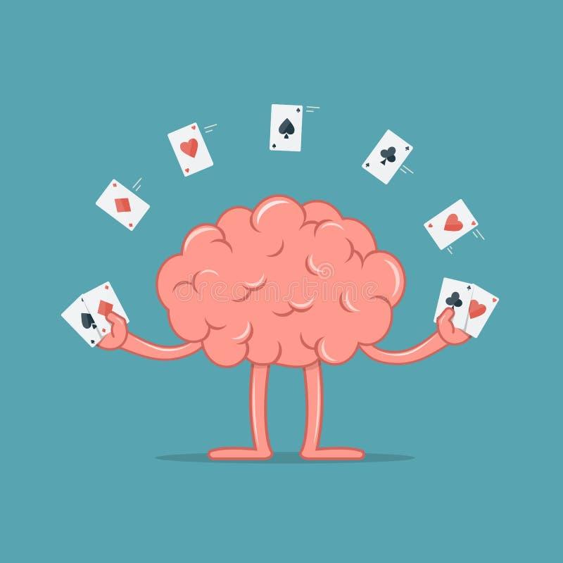 Kreskówka mózg z uprawiać hazard karty Móżdżkowa przedstawienie ostrość z karta do gry ilustracji