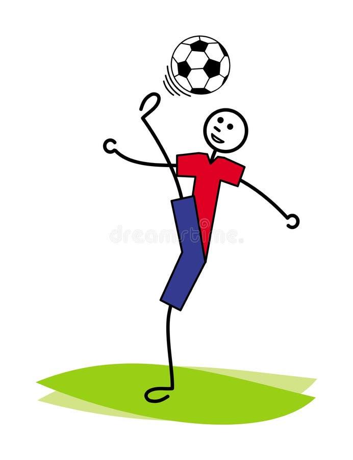 Kreskówka mężczyzna żongluje piłkę nożną, futbolową piłkę/, bije jego głowę z powrotem rysuje tła trawy kwiecistego wektora ilustracji