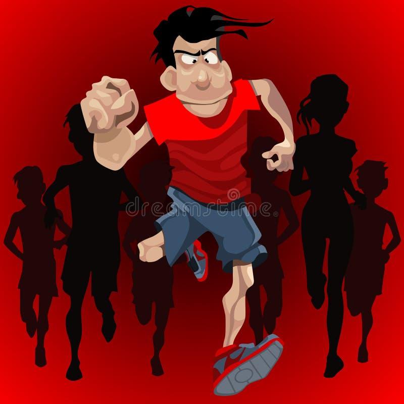 Kreskówka mężczyzna biega naprzeciw tłumu biegacze ilustracji