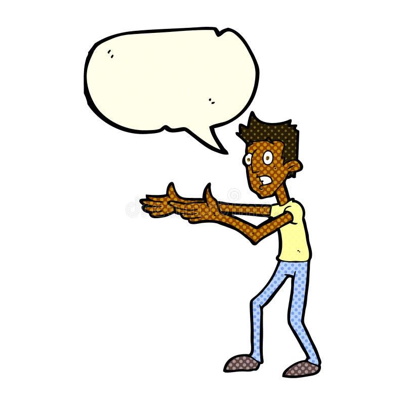 kreskówka mężczyzna desperacko wyjaśnia z mowa bąblem royalty ilustracja