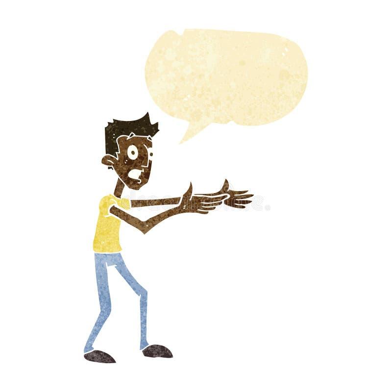 kreskówka mężczyzna desperacko wyjaśnia z mowa bąblem ilustracja wektor