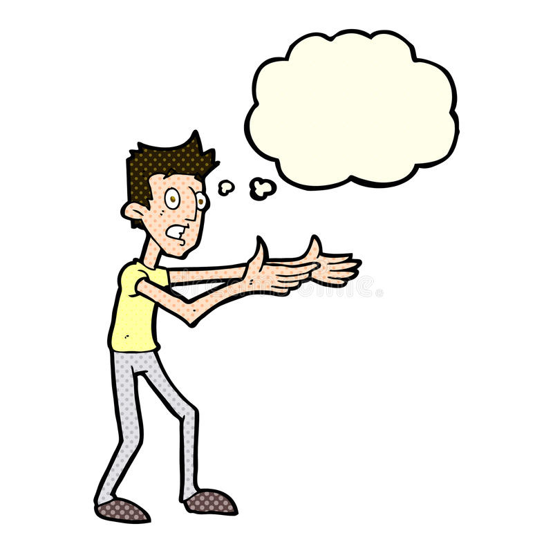kreskówka mężczyzna desperacko wyjaśnia z myśl bąblem ilustracja wektor