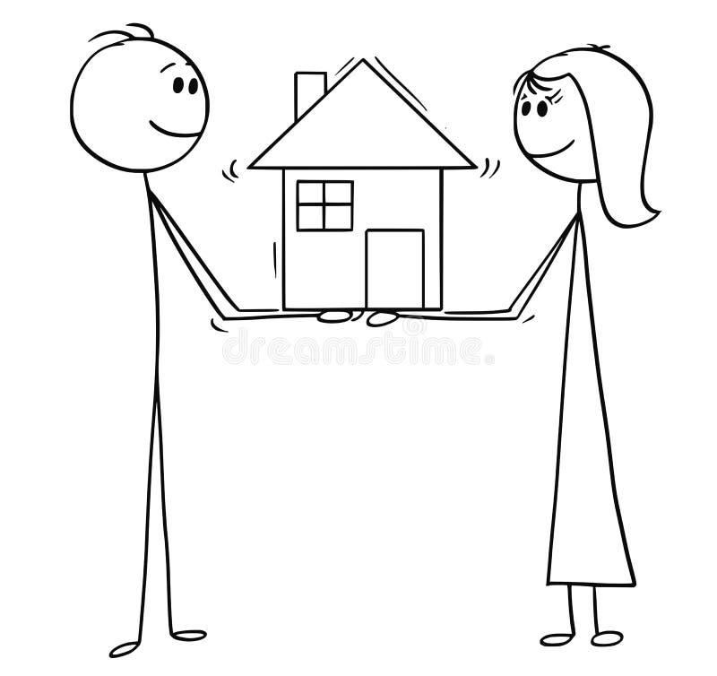 Kreskówka mężczyzna i kobiety mienia rodziny dom sen ilustracji