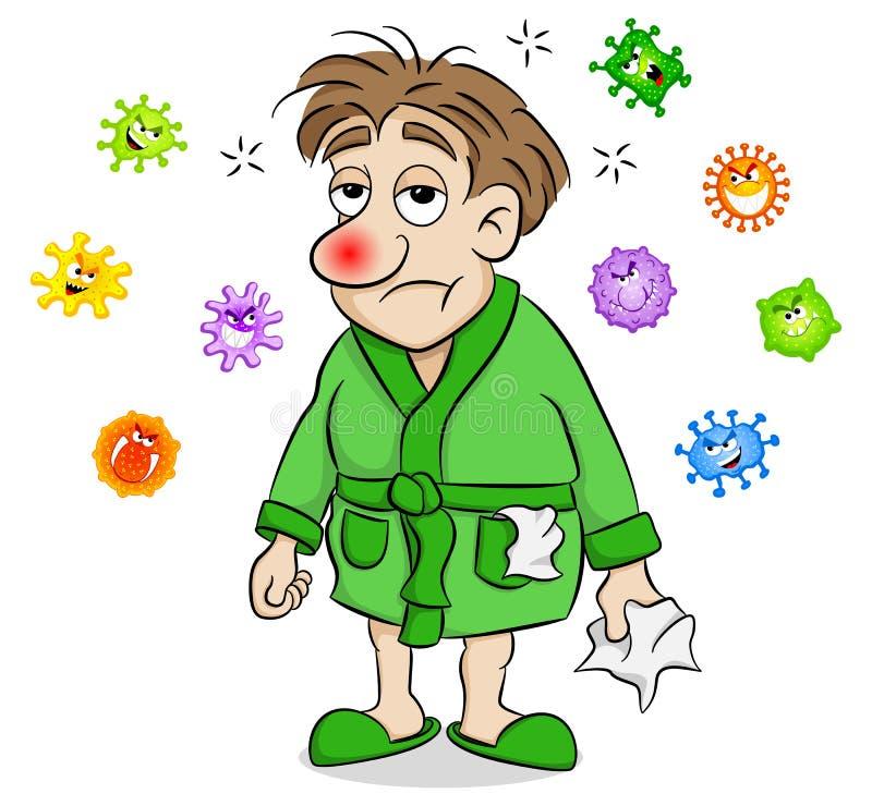 Kreskówka mężczyzna który jest chory i otaczający wirusami ilustracji