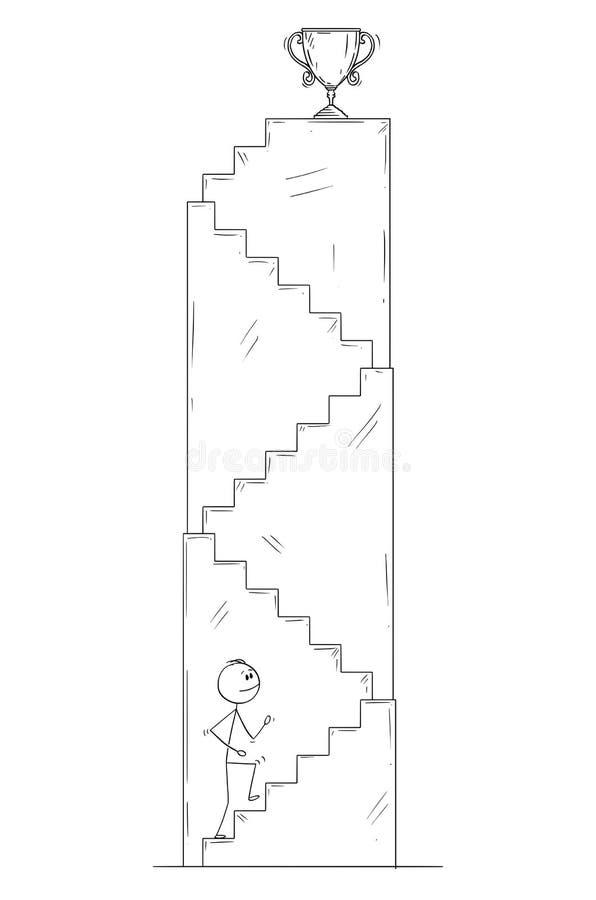Kreskówka mężczyzna lub biznesmen Chodzi W górę schodków dla zwycięzcy ` s trofeum ilustracja wektor