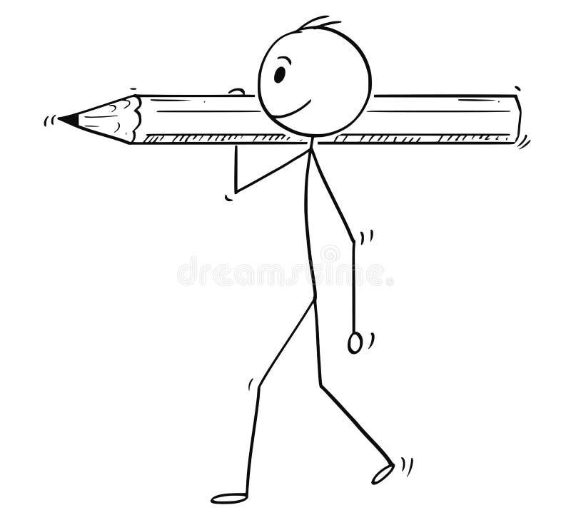 Kreskówka mężczyzna lub biznesmen Niesie Dużego ołówek ilustracji