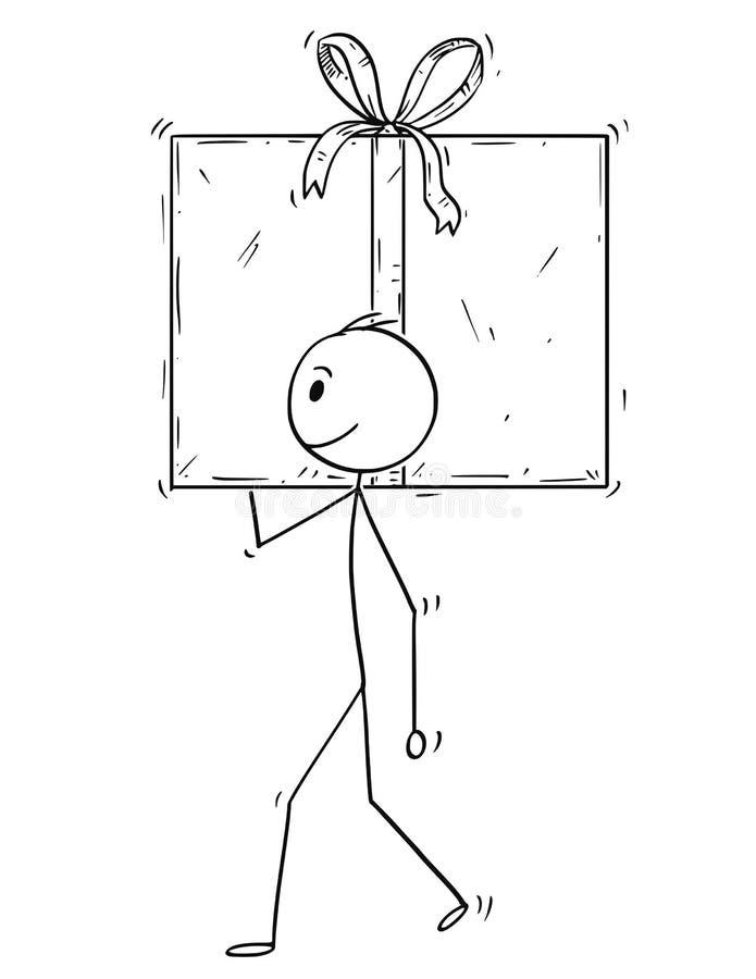 Kreskówka mężczyzna lub biznesmen Niesiemy Dużego prezenta pudełko Teraźniejszego w opakunku ilustracja wektor