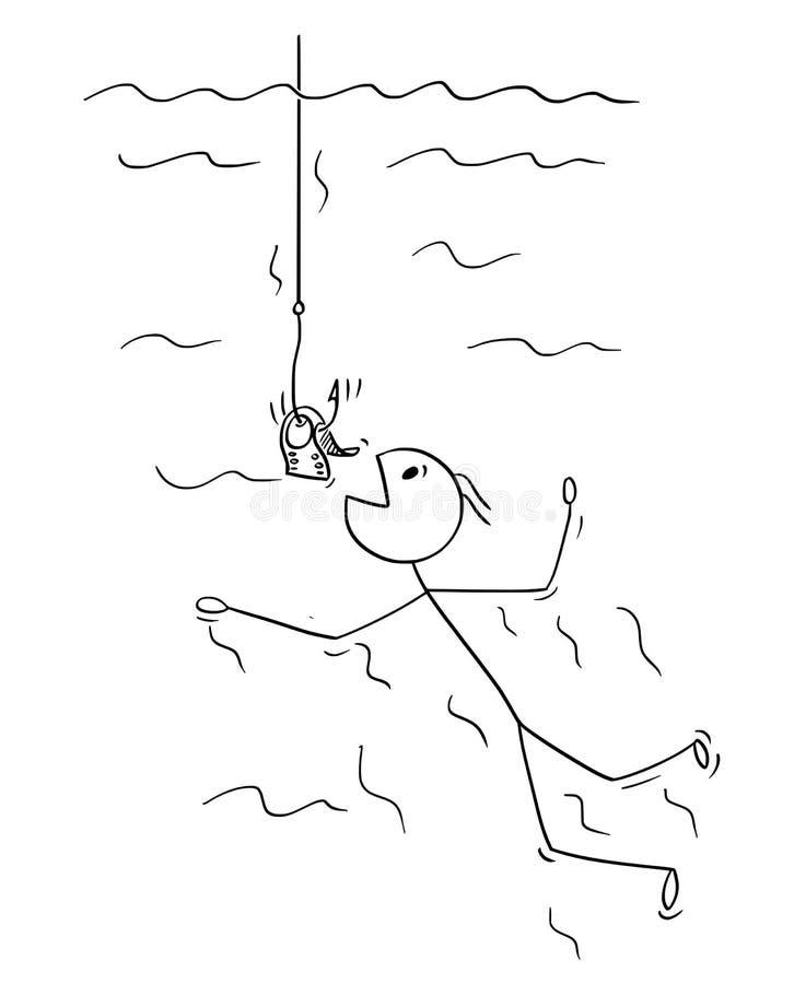 Kreskówka mężczyzna lub biznesmen Pływa Być chwytem na Dolarowym Bill lub pieniądze na Rybim haczyku ilustracja wektor