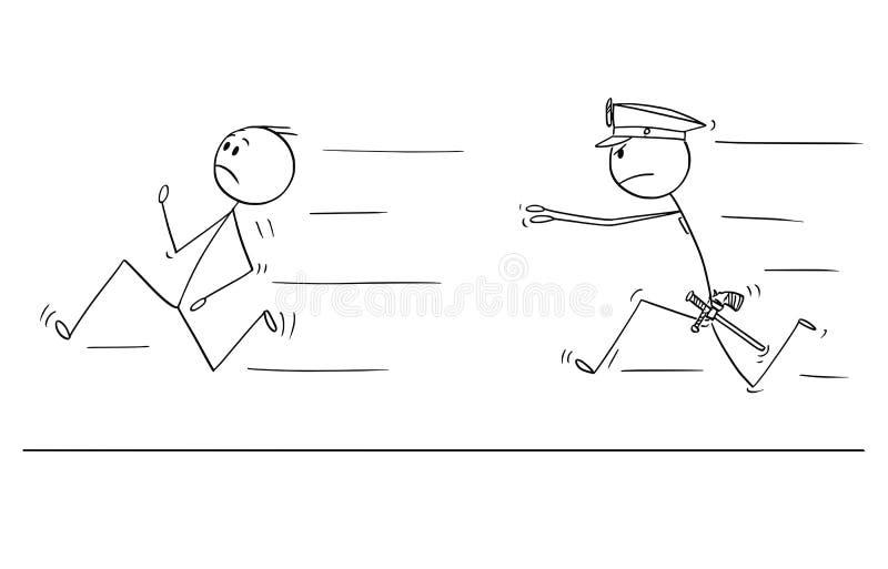 Kreskówka mężczyzna lub biznesmena bieg Od policjanta ilustracja wektor