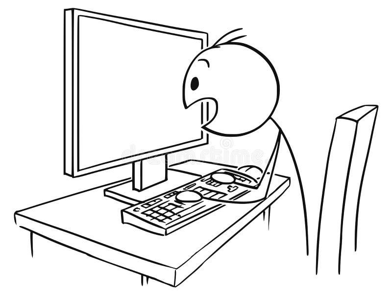 Kreskówka mężczyzna lub biznesmena dopatrywania ekran komputerowy w panice ilustracji