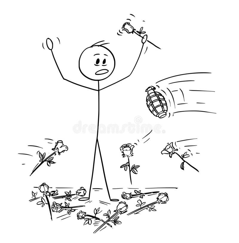 Kreskówka mężczyzna na scenie Która jest Atakującym granatem Od widowni ręcznie Podczas owacji na stojąco royalty ilustracja