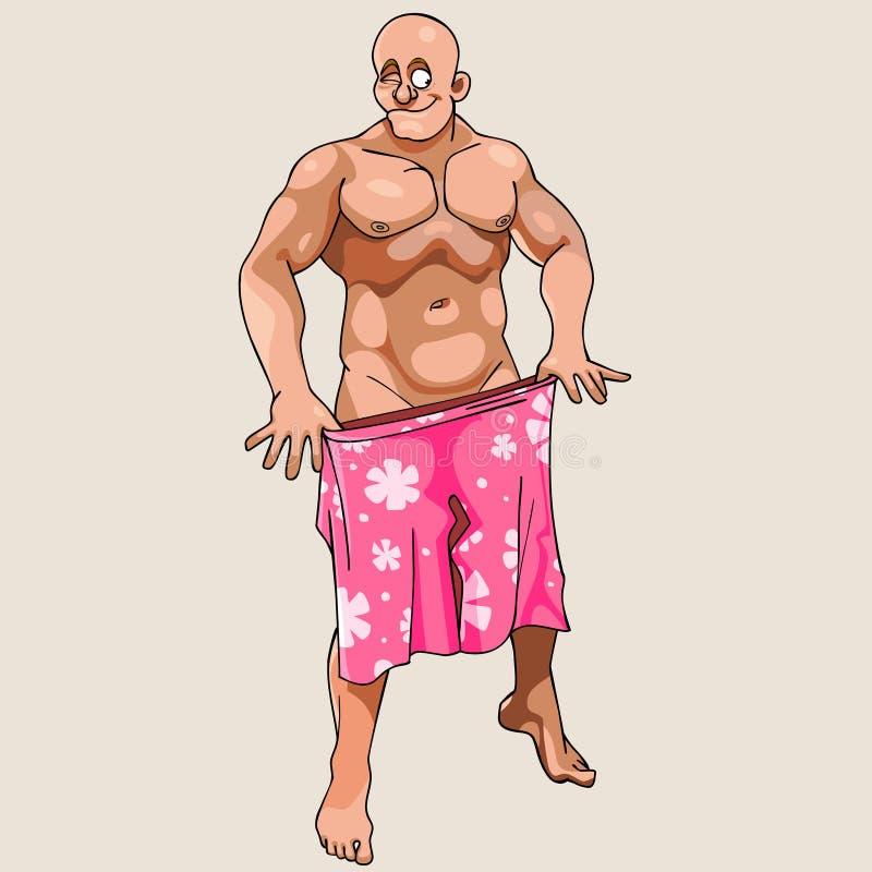 Kreskówka mężczyzna nadzy mrugnięcia i zakrywający skróty ilustracji