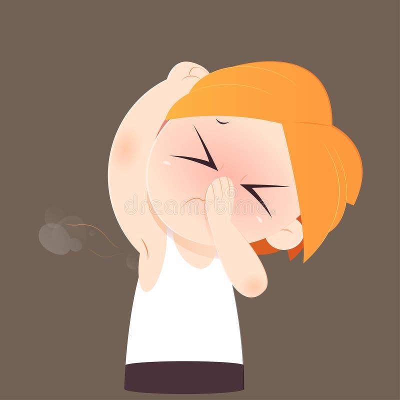 Kreskówka mężczyzna obwąchuje jego złego odoru mokrą pachę i wącha ilustracja wektor