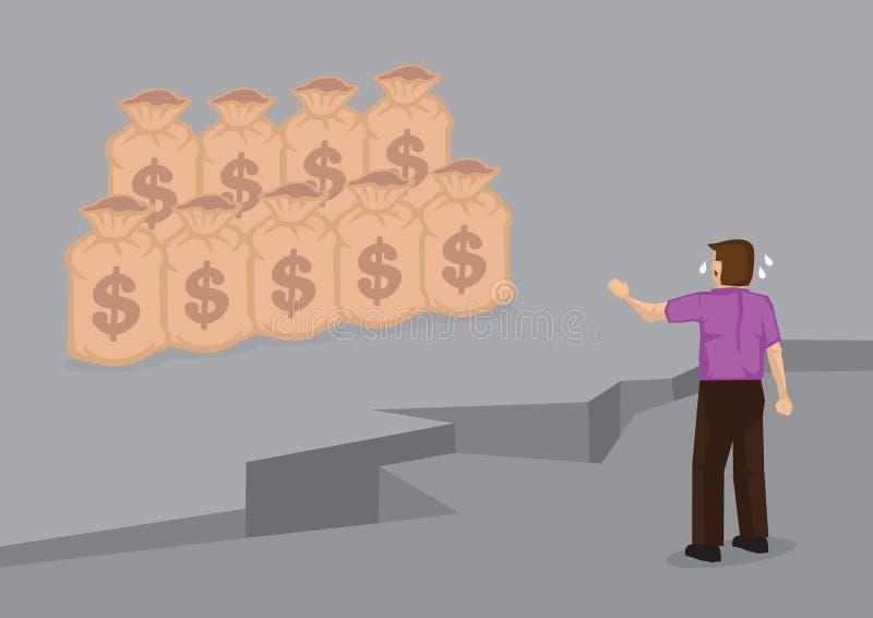 Kreskówka mężczyzna Oddzielający od pieniądze wektoru ilustraci royalty ilustracja