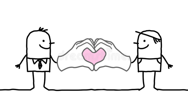 Kreskówka mężczyzna robi sercu podpisywać z ich rękami ilustracja wektor