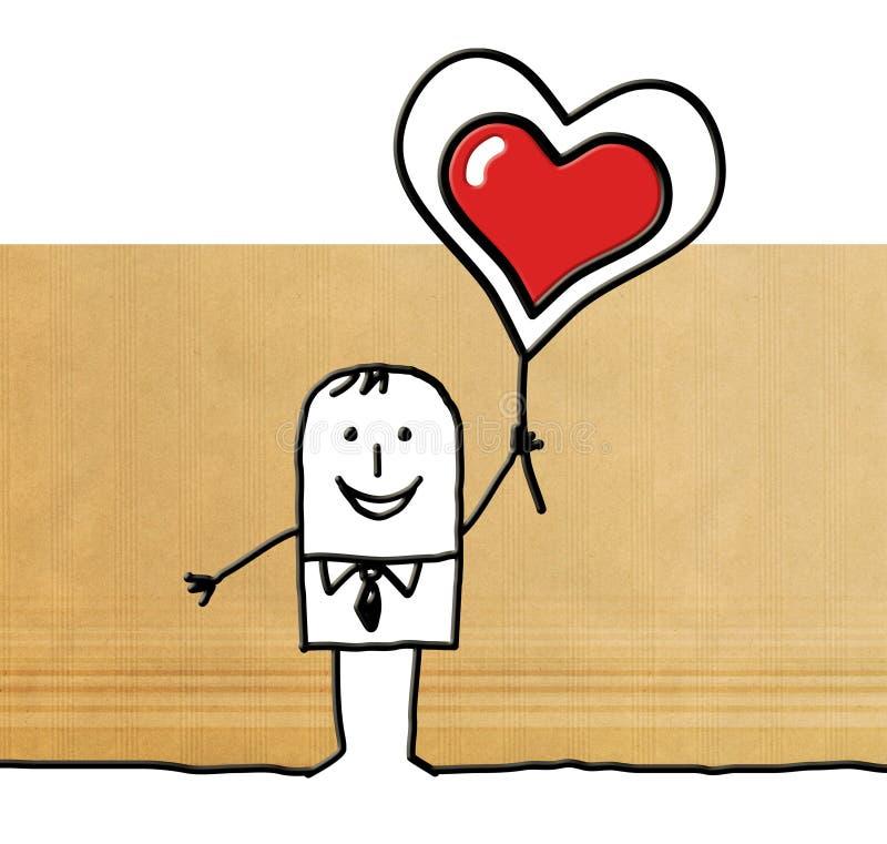 Kreskówka mężczyzna trzyma up dużego czerwonego serce ilustracja wektor