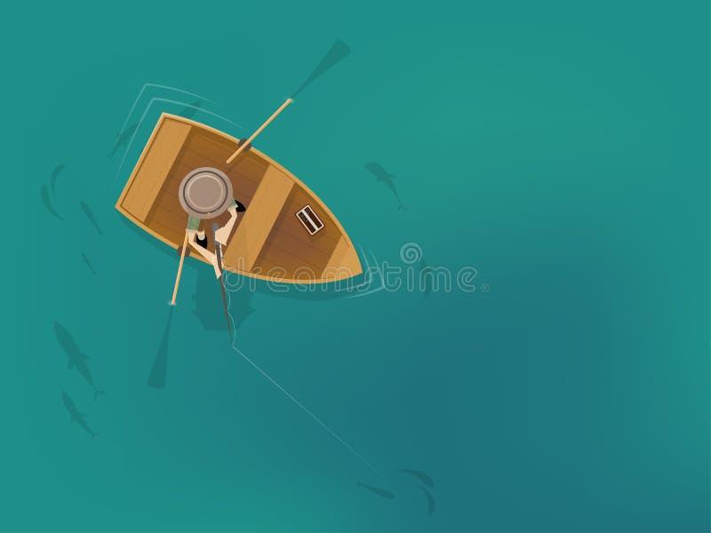 Kreskówka mężczyzna w łodzi rybackiej od ptaka oka widoku ilustracji