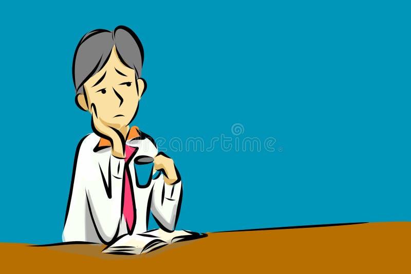 Kreskówka: mężczyzna w biurowym nudziarstwie był nieuważny ilustracji