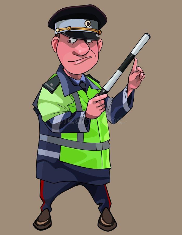 Kreskówka mężczyzna w ruchu drogowego inspektorze odziewa z różdżką w ręce ilustracja wektor