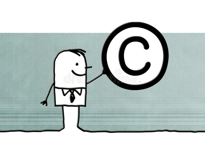 Kreskówka mężczyzna z Copyright symbolem ilustracja wektor