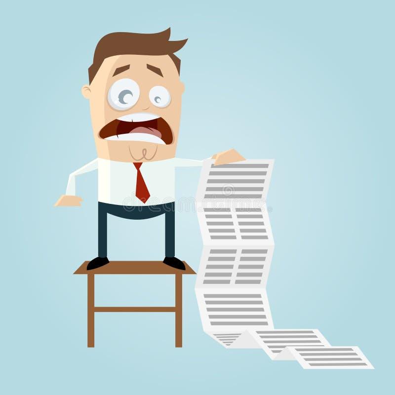 Kreskówka mężczyzna z długą zadanie listą ilustracji