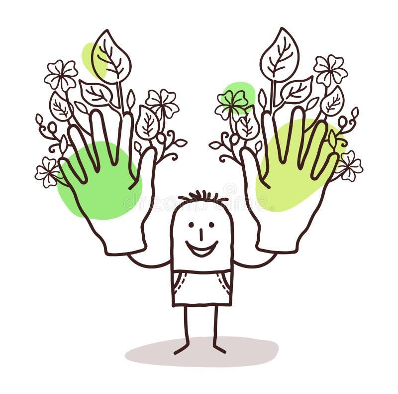 Kreskówka mężczyzna z dwa dużymi zieleni rękami ilustracji
