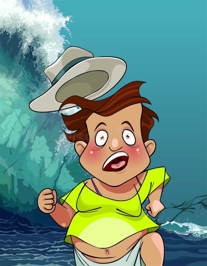 Kreskówka mężczyzna z kapeluszem biega od gigantycznych tsunami fala ilustracja wektor