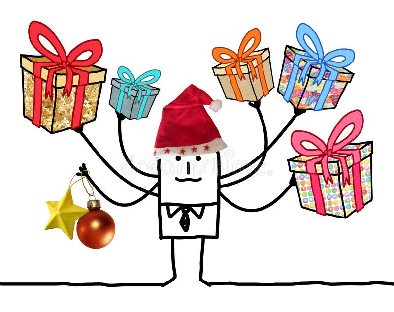 Kreskówka mężczyzna z Wielo- prezentów i Santa czerwieni kapeluszem ilustracja wektor