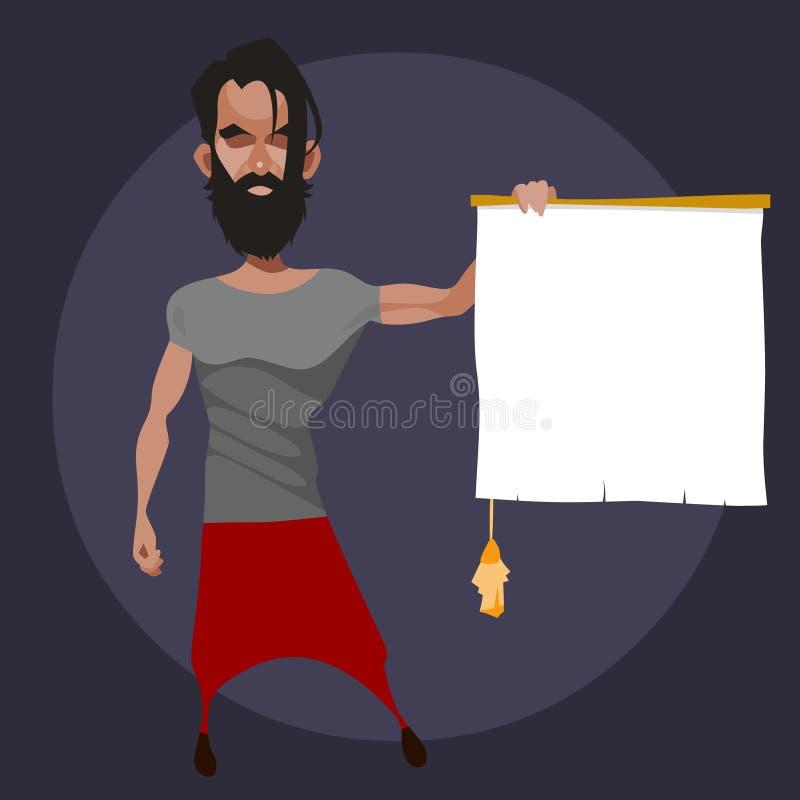 Kreskówka mężczyzny brodaci chwyty w jego ręce pusta ślimacznica z kitką royalty ilustracja