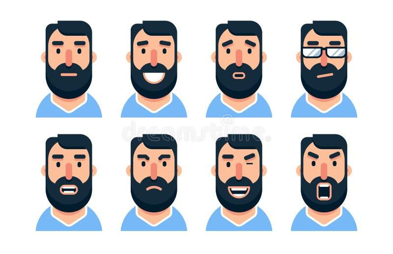 Kreskówka mężczyzny brodaty charakter z różnorodnymi wyrazami twarzy ilustracja wektor