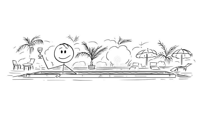 Kresk?wka m??czyzny dop?yni?cie w basenie, Cieszy? si? koktajlu i napoju lub ilustracji