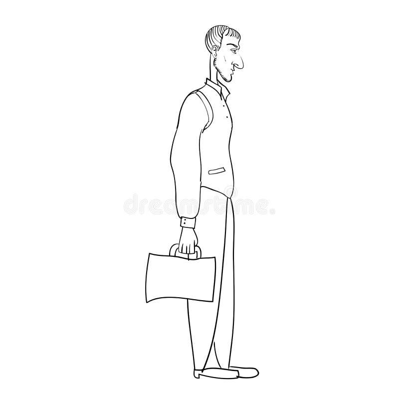 Kreskówka mężczyzny oficjalna ręka rysująca linia ilustracja wektor