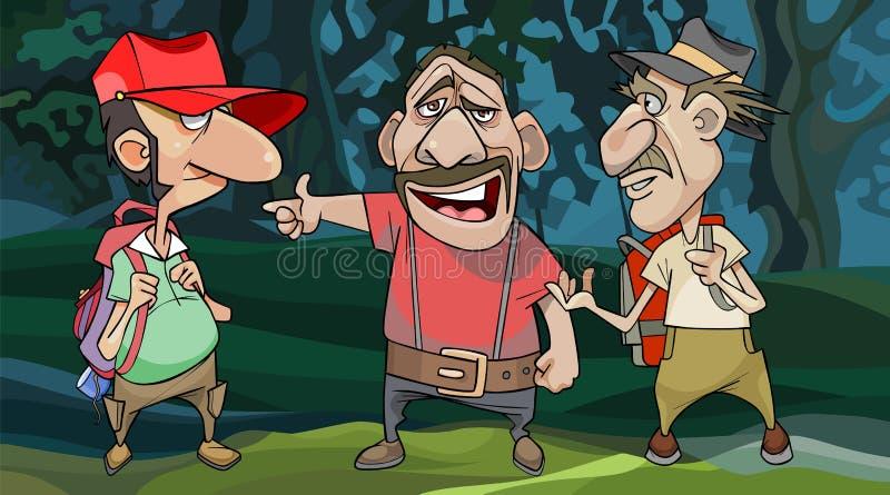 Kreskówka męscy podróżnicy pytają miejscowego dla drogi w lesie royalty ilustracja