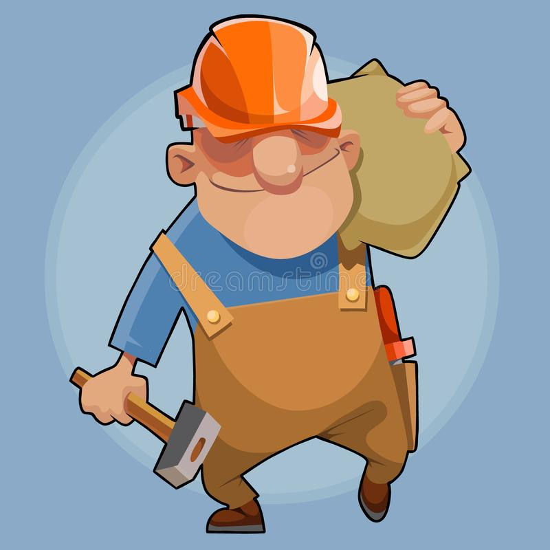 Kreskówka męski budowniczy chodzi z torbą na jego ramieniu i młotem w jego ręce royalty ilustracja