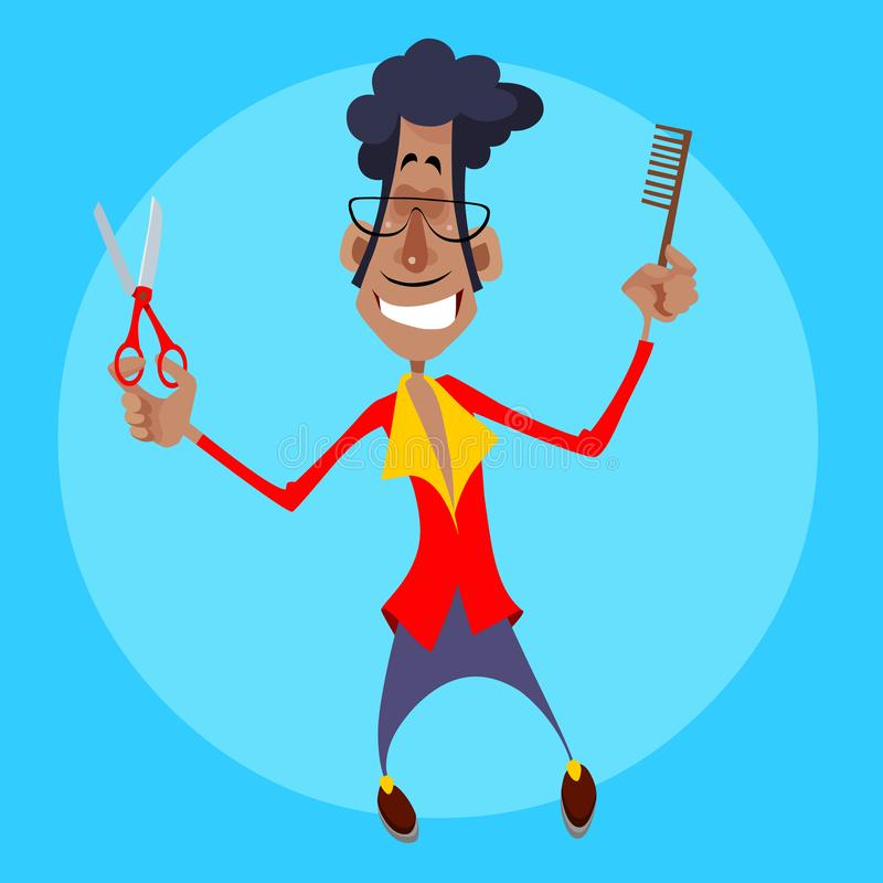 Kreskówka męski fryzjer z nożycami i gręplą w rękach ilustracja wektor