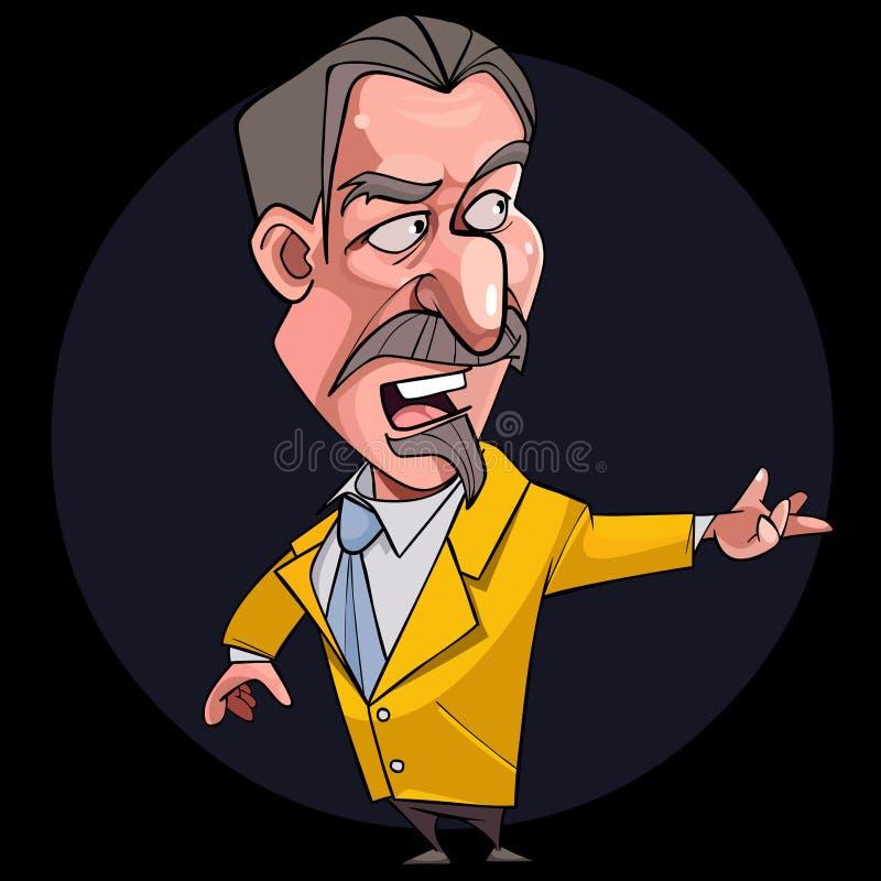 Kreskówka męski mówca poeta w krawacie i kostiumu royalty ilustracja