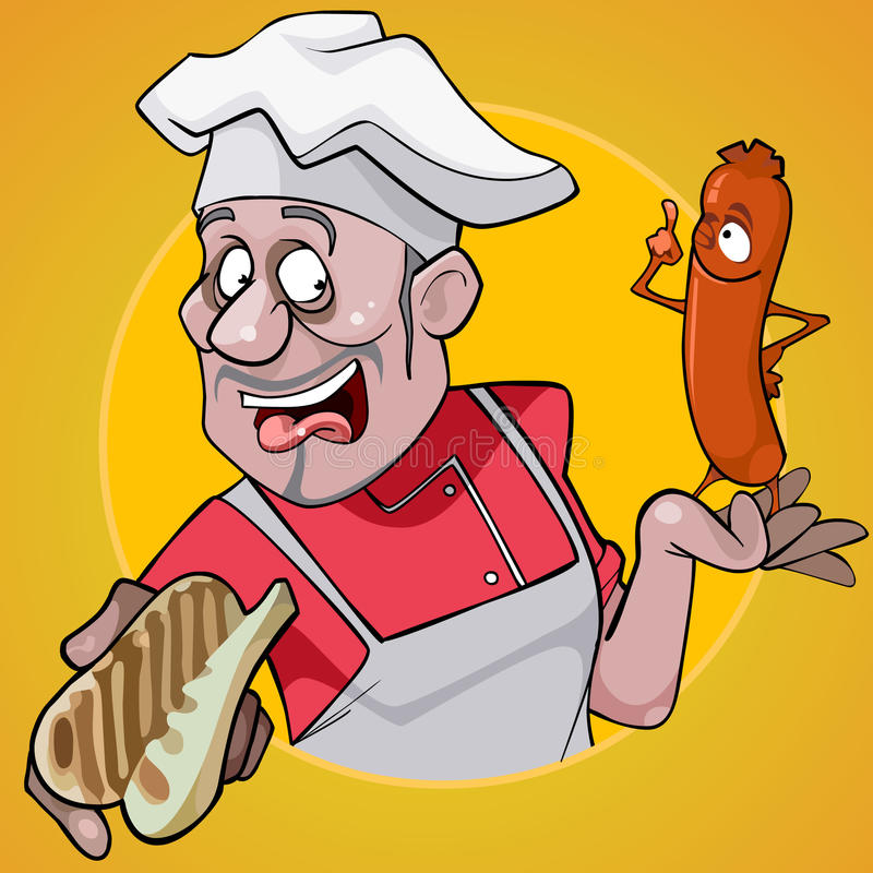 Kreskówka męski szef kuchni trzyma kiełbasę na żółtym tle i babeczkę ilustracji