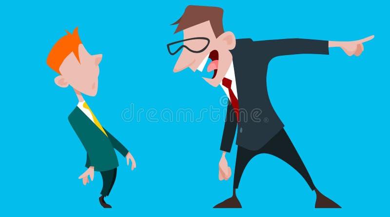Kreskówka męski szef wrzeszczy przy podkomendnym pracownikiem ilustracji