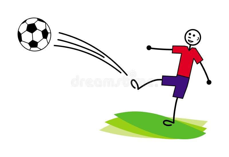 Kreskówka mały mężczyzna, futbol, gracz piłki nożnej/uderza piłkę ilustracja wektor